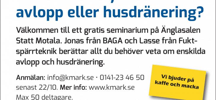 HUSDRÄNERING / ENSKILT AVLOPP SEMINARIUM